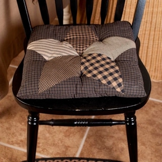 Black Primitive Tabletop Kitchen VHC Farmhouse Star Chair Pad Cotton Star Patchwork