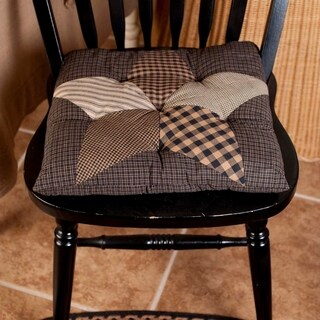 VHC Farmhouse Star Charcoal Black Primitive Classic Country Tabletop & Kitchen Chair Pad