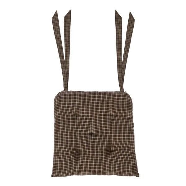 Black Primitive Tabletop Kitchen VHC Kettle Grove Plaid Chair Pad Cotton