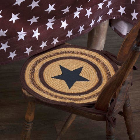 Tan Primitive Tabletop Kitchen VHC Potomac Star Chair Pad Set of 6 Jute Appliqued