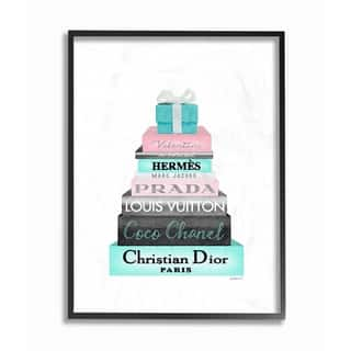 The Stupell Home Décor Collection Bookstack Pink w.Blue Box and Bow Framed Art, 11 x 1.5 x 14, Proudly Made in USA - Multi-color