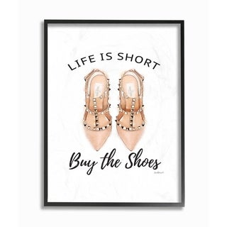 The Stupell Home Décor Collection Black, Peach Pink Life Is Short Buy The Shoes Framed Art, 11 x 1.5 x 14, Proudly Made in USA