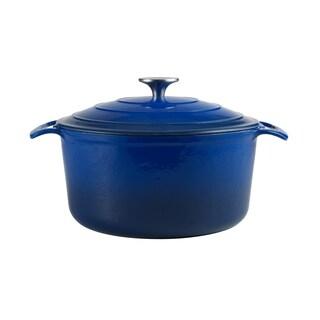 Cooks Tools Enamel Cast Iron Porcelain Coated 5-1/2 Quart Blue Dutch Oven