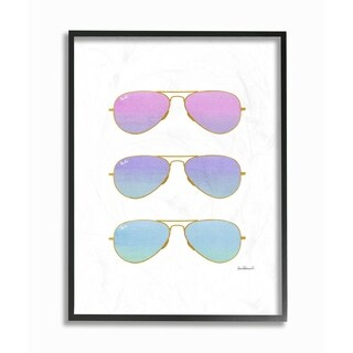 The Stupell Home Décor Collection Pink Purple Blue Sunset Aviator Sunglasses Framed Art, 11 x 1.5 x 14, Proudly Made in USA