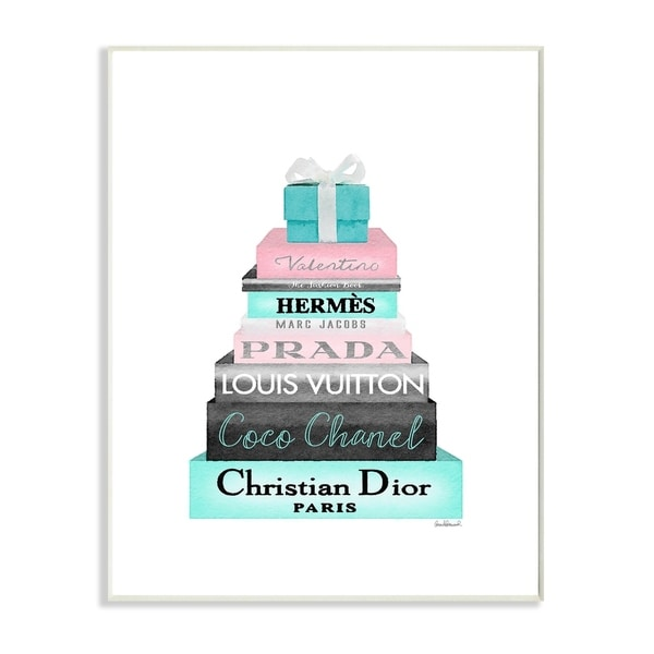 shop the stupell home décor collection bookstack pink with blue box