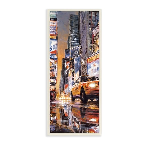 The Stupell Home Decor Collection New York City Times Square Night Scene Taxi Wall Plaque Art