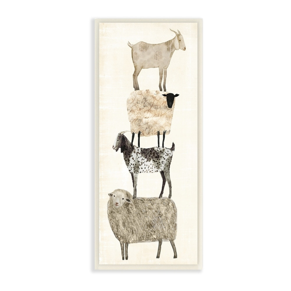 The Stupell Home Décor Collection Fun Stacked Sheep and Goats Farm Animals Wall Plaque Art, Proudly Made in USA - 7 x 17