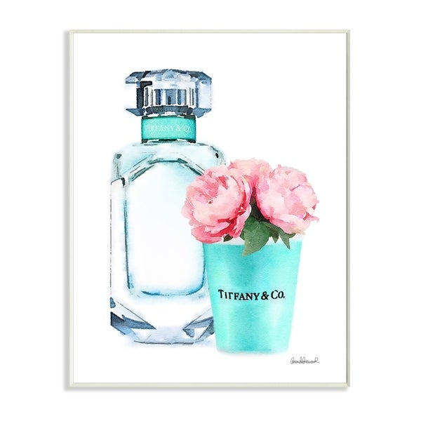 The Stupell Home Décor Collection Teal Blue Perfume Bottle and Pink Peonies Wall Plaque Art, Proudly Made in USA