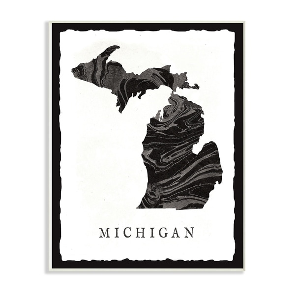 57f4228c28bfd The Stupell Home Décor Collection Black and Grey Michigan State Silhouette  Wall Plaque Art