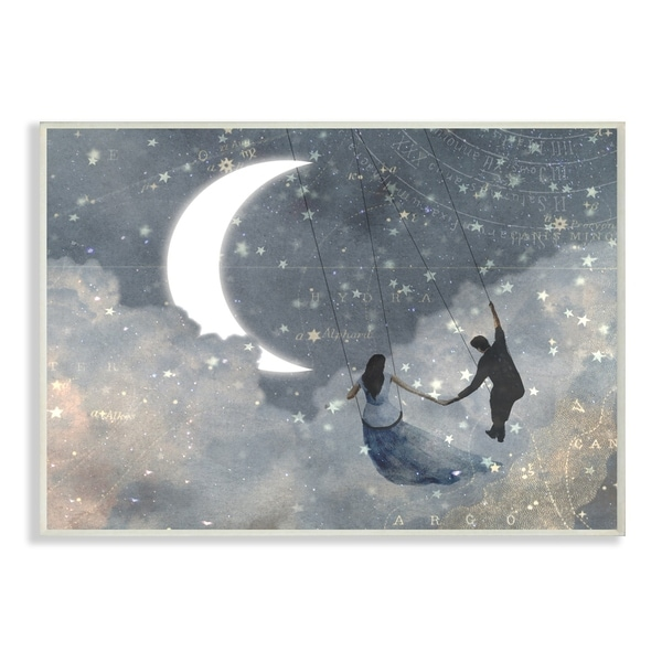 The Stupell Home Décor Collection Grey and Blue Celestial Love Sky Swinging Wall Plaque Art, Proudly Made in USA