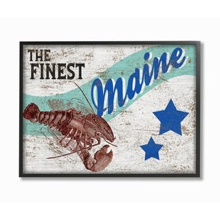 The Stupell Home Décor Collection Star Crate Finest Lobster Maine State Framed Art, 11 x 1.5 x 14, Proudly Made in USA