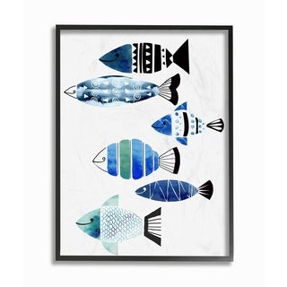 The Stupell Home Décor Collection Collage Tropical Blue Green and Black Fish Framed Art, 11 x 1.5 x 14, Proudly Made in USA
