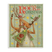 The Stupell Home Décor Collection Holiday   Music Rock Out Its Christmas Reindeer Wall Plaque Art, Proudly Made in USA