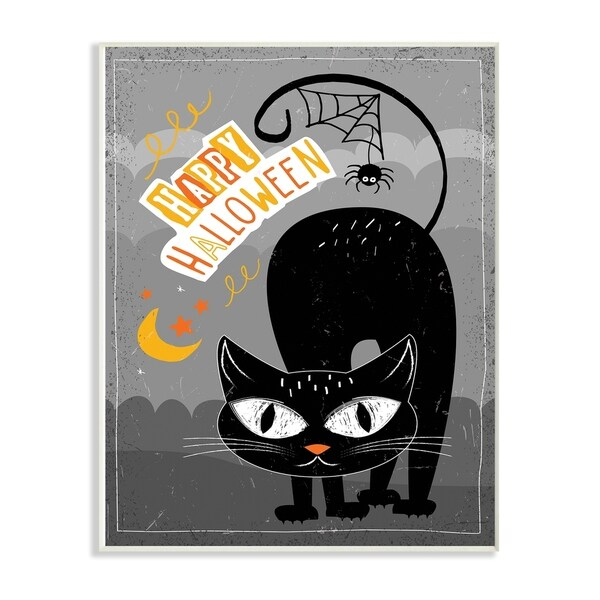 Shop The Stupell Home Décor Collection Happy Halloween Black Cat ...