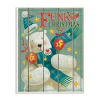 The Stupell Home Décor Collection Holiday   Music Funk Up Your Christmas Polar Bear Wall Plaque Art, Proudly Made in USA