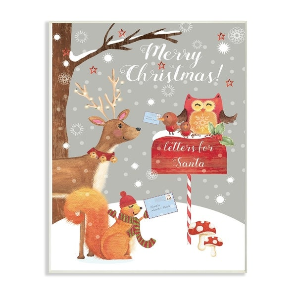 Merry Christmas Animals.The Stupell Home Decor Collection Merry Christmas Animals Letters For Santa Wall Plaque Art Proudly Made In Usa