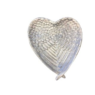 Winged Styled Beautiful Decorative Resin Heart Shaped Plate, Silver