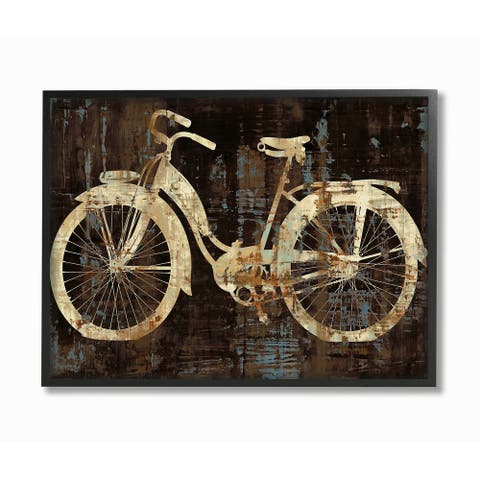 The Stupell Home Décor Collection Black Tan and Blue Distressed Bicycle Framed Art, 11 x 1.5 x 14, Proudly Made in USA