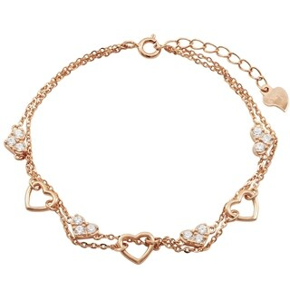 Luxiro Sterling Silver Rose Gold Finish Cubic Zirconia Two-row Heart Bracelet