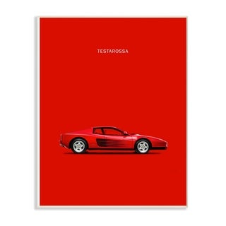The Stupell Home Décor Collectio Bold and Shiny Testarossa Red Car Poster Wall Plaque Art, Proudly Made in USA