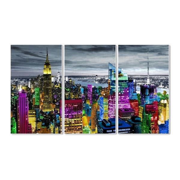Shop The Stupell Home Decor Collection Colorful City Lights Rooftop Skyline Triptych Wall Plaque Art Proudly Made In USA