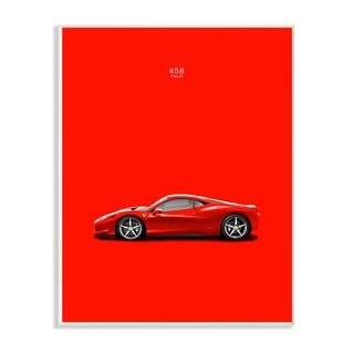 The Stupell Home Décor CollectionBold and Shiny 458 Italia Red Car Poster Wall Plaque Art, Proudly Made in USA