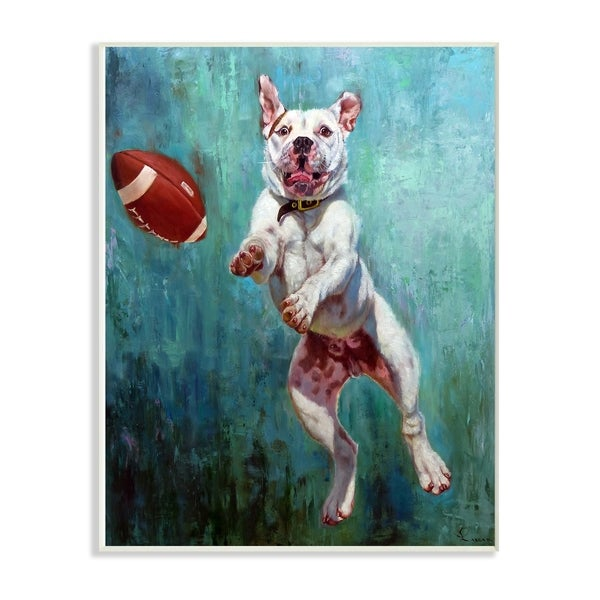 The Stupell Home Decor Collection Bull Dog Playing Football Airborn Funny Painting Wall Plaque Art