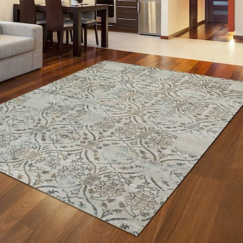 Admire Home Living Plaza Transitional Oriental Distressed Damask Pattern Area Rug