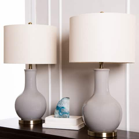 Abbyson Gourd Grey Ceramic 29.5-inch Table Lamp (Set of 2)