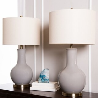Abbyson Gourd Grey Ceramic 29.5-inch Table Lamp (Set of 2)