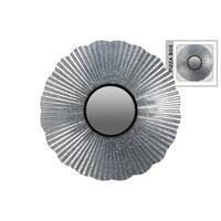 Metal Round Wall Mirror Galvanized Finish Gray