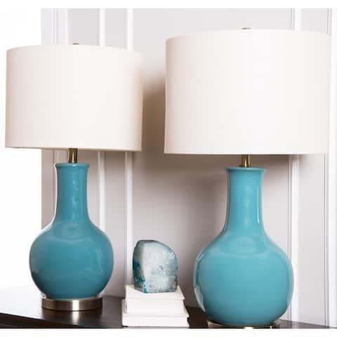 Abbyson Gourd Blue Ceramic 29-inch Table Lamp (Set of 2)