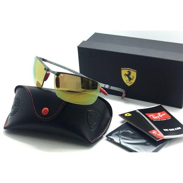 4a12064970 Shop Ray-Ban Polarized 3P Ferrari Edition Light Carbon Gold Mirror ...