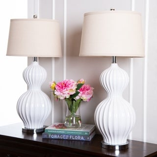 Abbyson Large White Fluted Large 32-inch Table Lamp (Set of 2)