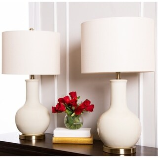 Abbyson Gourd Beige Ceramic 29-inch Table Lamp (Set of 2)