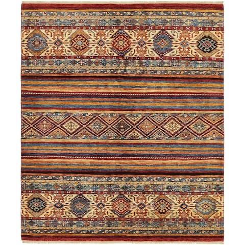 Hand Knotted Ariana Ziegler Wool Square Rug - 5' 2 x 6'