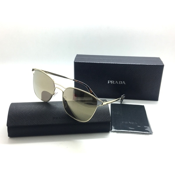 36cf5c9d389 Shop Prada Gold Metal Mirrored Sunglasses - Free Shipping Today - Overstock  - 23061021