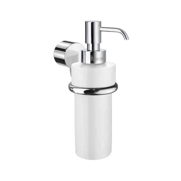 Smedbo Art White Porcelain Soap Pump with Polished Chrome Bracket