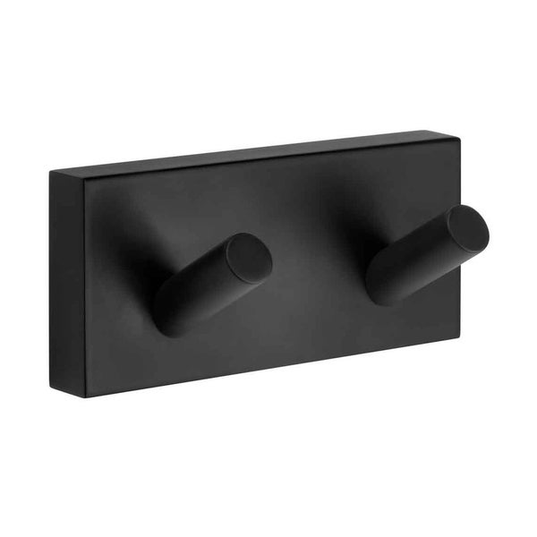 Smedbo House Scandinavian Design Brass Double Bathroom Towel Hook - Matte Black