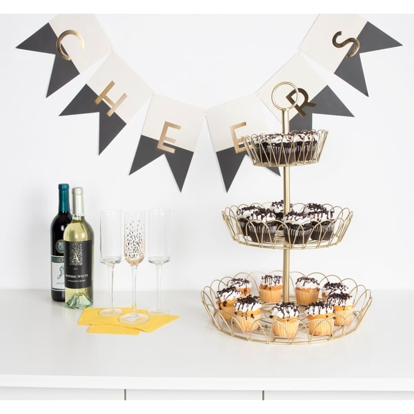 Kate and Laurel Leanza 3-Tier Metal Accent Tray - 3 tier