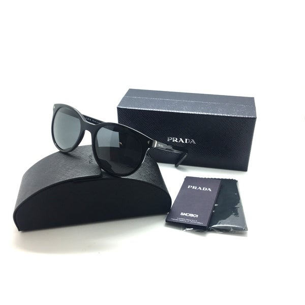 1334de8562887 Shop Prada Black Sunglasses With Grey Lenses - Free Shipping Today -  Overstock - 23061105