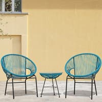 Sarcelles Woven Wicker Patio Chairs in Black by Corvus (Set of 2) (As Is Item)