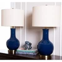 Abbyson Gourd Navy Blue Ceramic 29-inch Table Lamp (Set of 2)