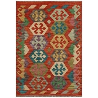 Handmade Herat Oriental Afghan Hand-woven Vegetable Dye Kilim Wool Rug (2'8 x 3'9)
