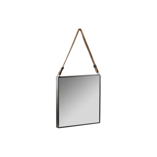 Metal Square Mirror with Rope Hanger Tarnished Finish Black