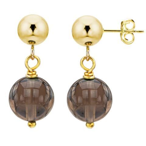 DaVonna 14k Yellow Gold 10mm Gemstone Birthstone Dangle Stud Earrings