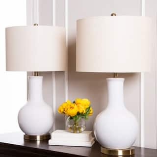 Abbyson Gourd White Ceramic 29-inch Table Lamp (Set of 2)