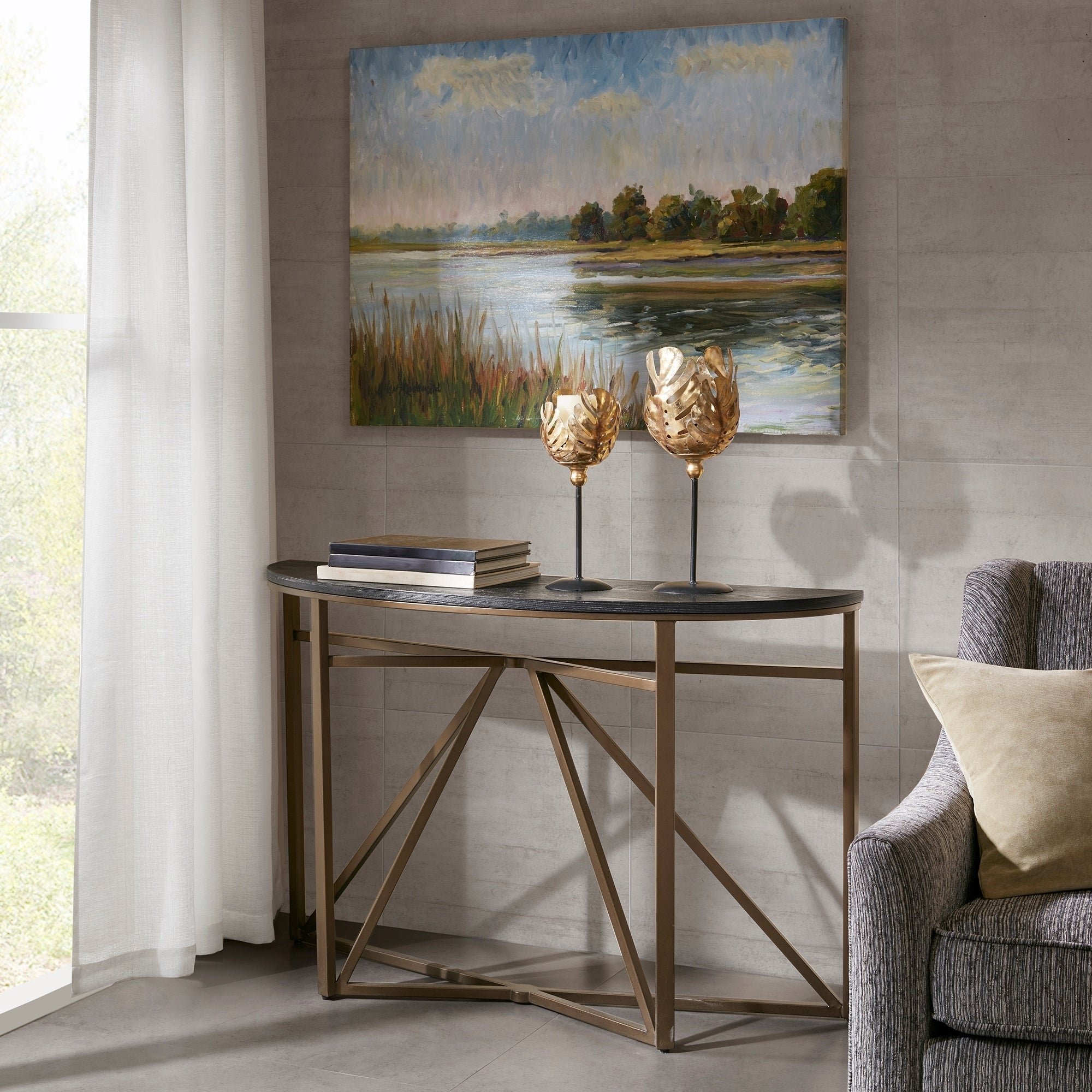 Sensational Madison Park Kayden Black Bronze Console Table Ncnpc Chair Design For Home Ncnpcorg