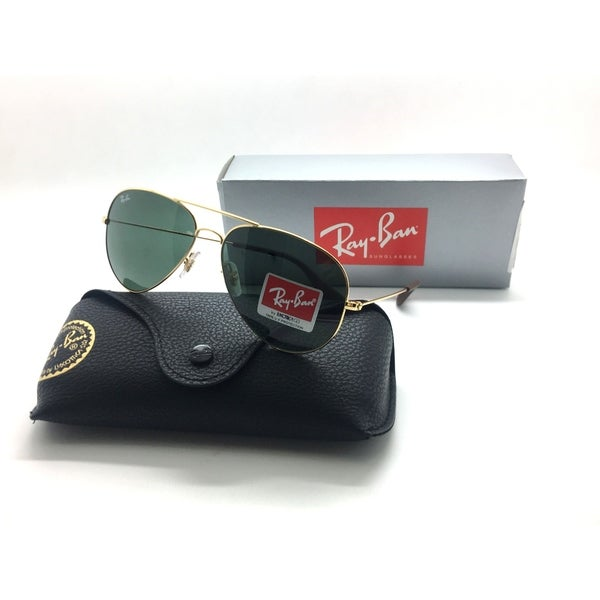 fd922702b17 Shop Rayban Sunglasses RB3558 001 71 58 Gold Green Grey G15 3558 Aviator  GENUINE - Free Shipping Today - Overstock - 23062142