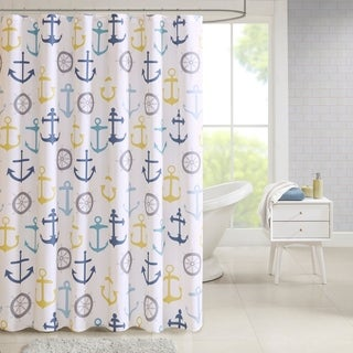 Madison Park Essentials Chase Multi Poly Duck Canvas Nautical Printed Shower Curtain